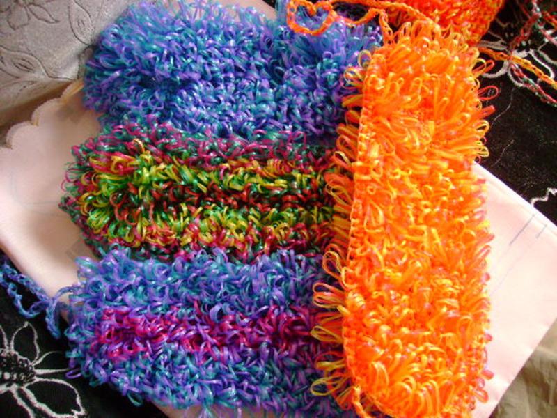Вязание мочалок крючком с вытянутыми петлями Уют и тепло 73