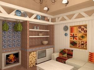 Комната отдыха в бане в скандинавском стиле - это богатое и просторное решение.