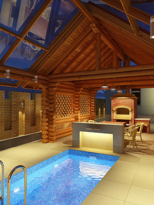 проект бани фото с бассейном