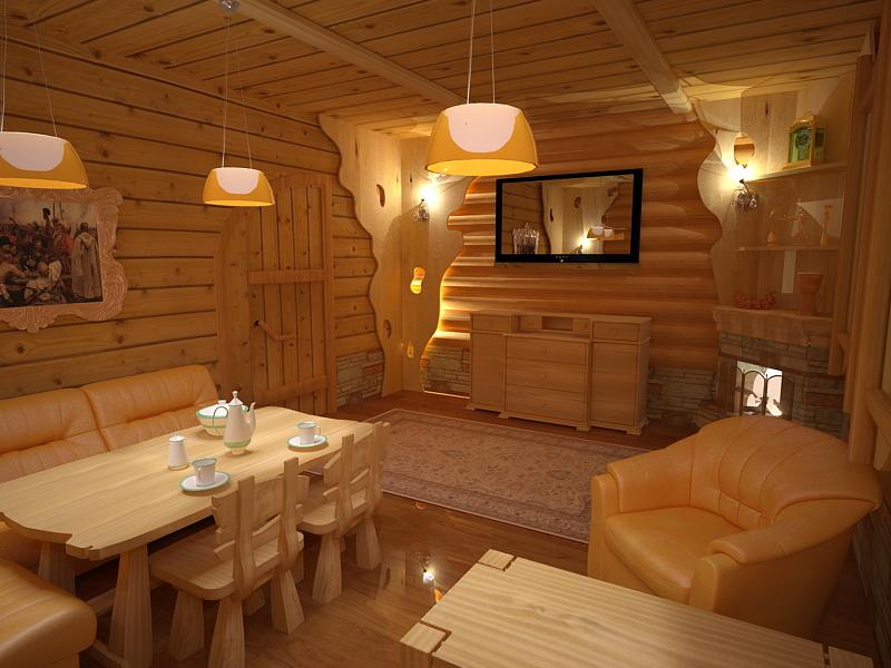 Внутренняя отделка в бане, фото оформления комнат внутри